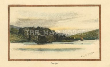 Picturesque Mediterranean: Dulcigno, Montenegro. Circa 1880. A hand coloured original antique wood-engraving. 5 x 3 inches. [CEUp501]