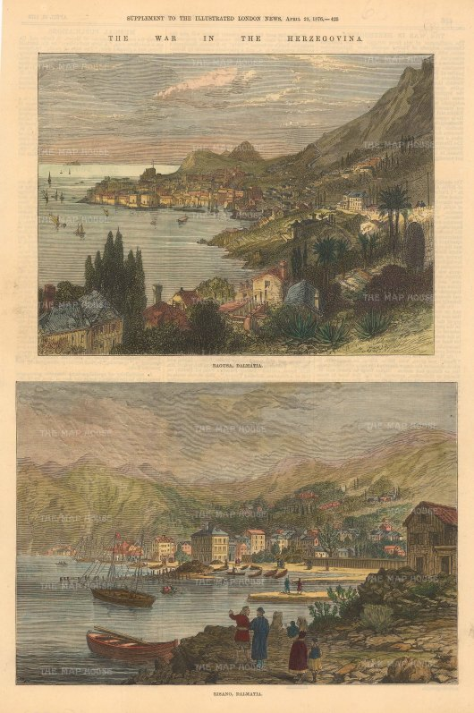 "Illustrated London News: Ragusa, Bosnia & Herzegovina. 1876. A hand coloured original antique wood engraving. 10"" x 14"". [CEUp502]"