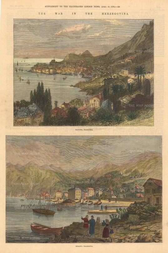 "Illustrated London News: Ragusa, Bosnia & Herzegovina. 1876. A hand coloured original antique wood engraving. 10"" x 14"". [CEUp502]"