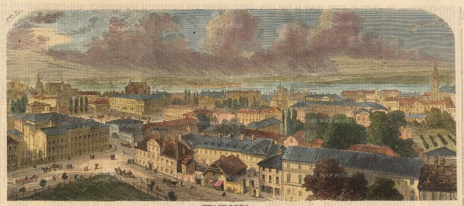 "Illustrated London News: Warsaw, Poland. 1851. A hand coloured original antique wood engraving. 14"" x 6"". [CEUp504]"