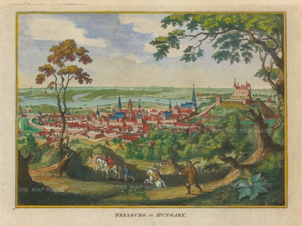 Hogg: Bratislava, Slovakia. 1793. A hand-coloured original antique copper-engraving. 6 x 5 inches. [CEUp505]