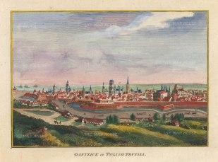 """Hogg: Gdansk, Poland. 1793. A hand coloured original antique copper engraving. 10"""" x 6"""". [CEUp511]"""