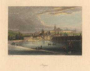 "Payne: Prague, Czech Republic. c1840. A hand coloured original antique steel engraving. 6"" x 4"". [CEUp513]"