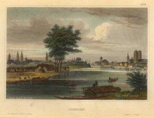 Meyer: Wrocław, Poland. 1839. A hand-coloured original antique steel-engraving. [CEUp517]
