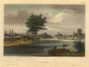 Meyer: Wrocław, Poland. 1839. A hand-coloured original antique steel-engraving. [CEUp517]