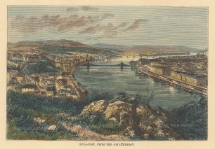 reclus: Budapest, Hungary. 1894. A hand-coloured original wood-engraving. 7 x 6 inches. [CEUp518]