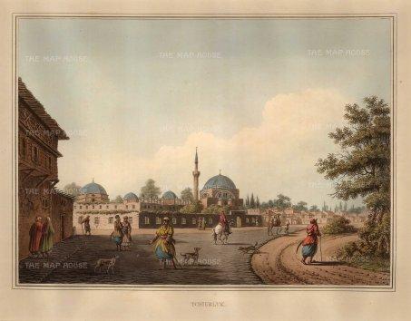 """Mayer: Tchiurluk, Bulgaria. 1810. An original coloured antique aquatint. 13"""" x 9"""". [CEUp78]"""