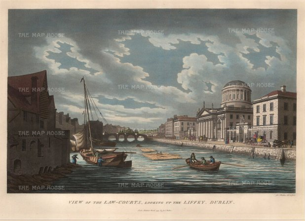 "Malton: Dublin. 1799. A hand-coloured original antique aquatint. 15"" x 10"". [IREp299]"