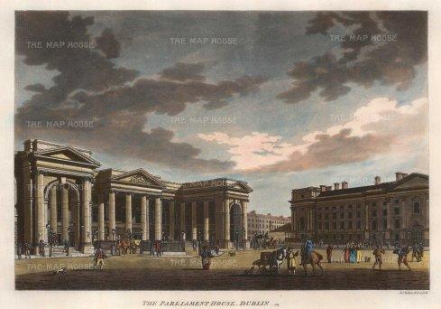 "Malton: Dublin. 1793. A hand-coloured original antique aquatint. 17"" x 13"". [IREp379]"