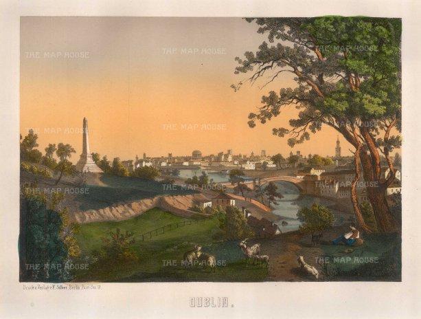 """Sibler: Dublin. 1850. An original colour antique lithograph.12"""" x 15"""". [IREp464]"""