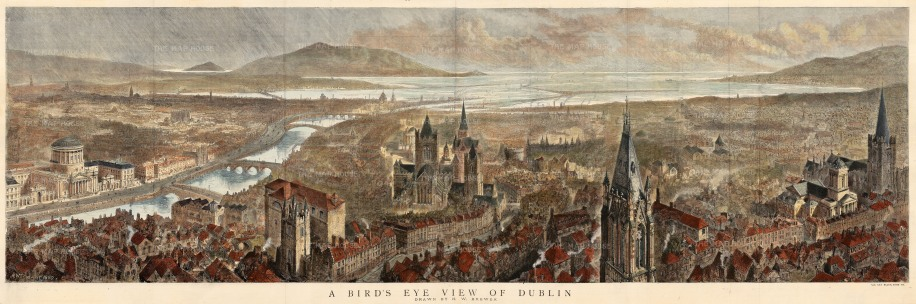 "The Graphic Magazine: Dublin. 1890. A hand coloured original antique wood engraving. 49"" x 16"". [IREp604]"