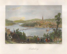 "Bartlett: Londonderry. 1831. A hand-coloured original steel engraving. 8"" x 7"". [IREp636]"