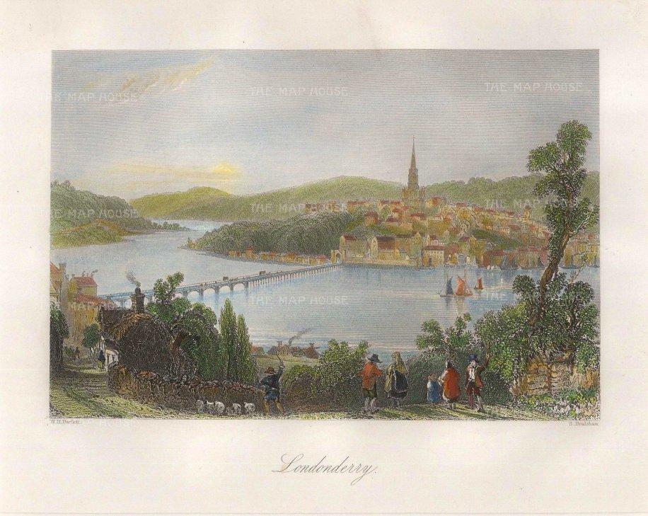 "Bartlett: Londonderry. 1831. A hand coloured original antique steel engraving. 8"" x 7"". [IREp636]"