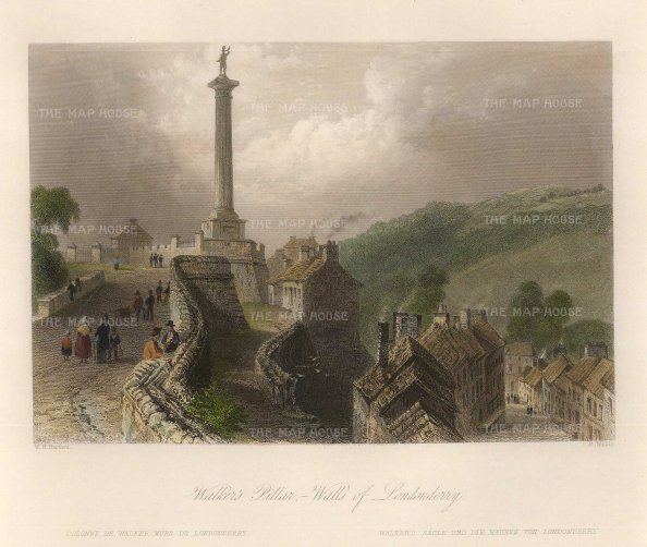 "Bartlett: Londonderry. 1840. A hand coloured original antique steel engraving. 8"" x 7"". [IREp642]"