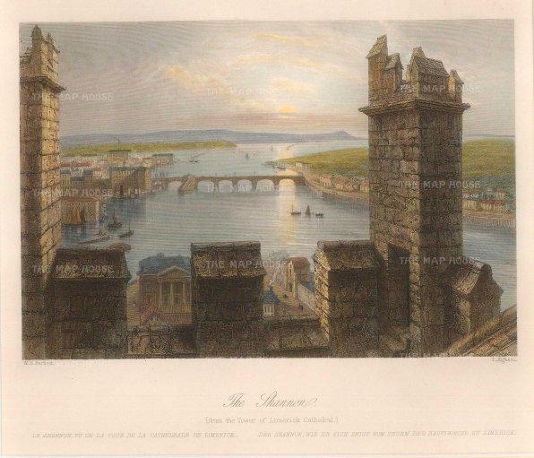 "Bartlett: Limerick. 1841. A hand coloured original antique steel engraving. 8"" x 7"". [IREp644]"