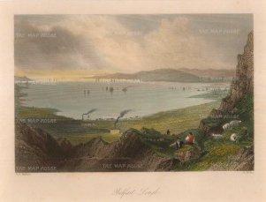 "Bartlett: Belfast Lough. 1841. A hand coloured original antique steel engraving. 8"" x 6"". [IREp654]"
