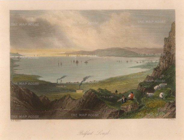 "Bartlett: Belfast Lough. 1841. A hand-coloured original antique steel engraving. 8"" x 6"". [IREp654]"