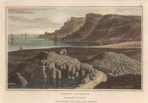 "Daniell: Giant's Causeway. 1807. A hand-coloured original antique aquatint. 8"" x 5"". [IREp665]"