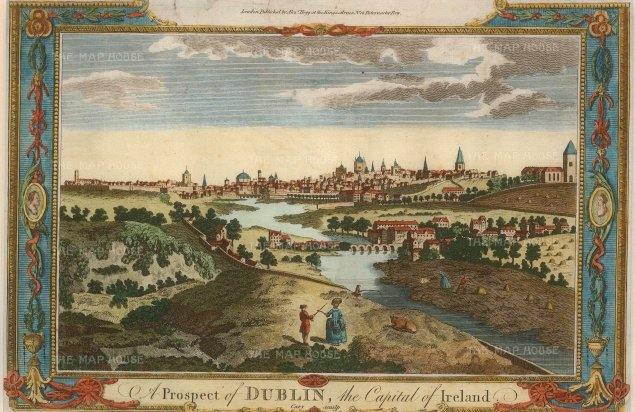 "Millar: Dublin. 1777. A hand-coloured original antique copper engraving. 10"" x 6"". [IREp672]"