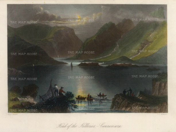 "Bartlett: Connemara, County Galway. A hand-coloured original antique steel engraving. 8"" x 6"". [IREp677]"