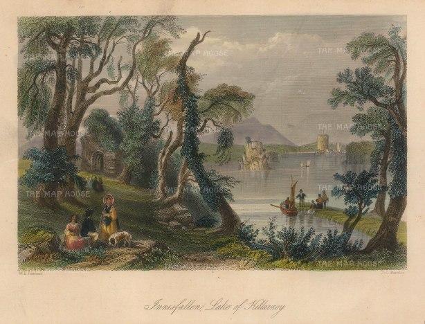 "Bartlett: Innisfallen. 1841. A hand coloured original antique steel engraving. 8"" x 6"". [IREp678]"