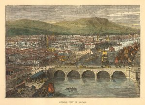 "Brown: Belfast. 1885. A hand-coloured original antique wood engraving. 8"" x 6"". [IREp679]"