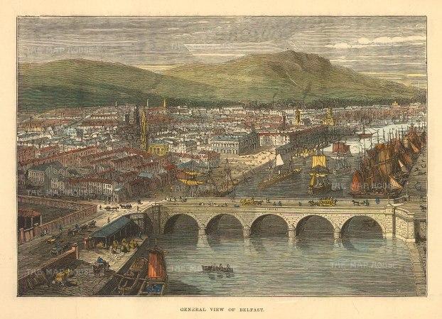 "Brown: Belfast. 1885. A hand-coloured original antique wood engraving. 8"" x 6"". [IREp679]"