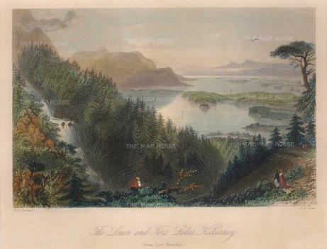 "Bartlett: Killarney. A hand coloured original antique steel engraving. 8"" x 6"". [IREp680]"
