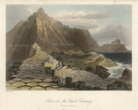 "Bartlett: Giant's Causeway. 1841. A hand coloured original antique steel engraving. 8"" x 6"". [IREp681]"