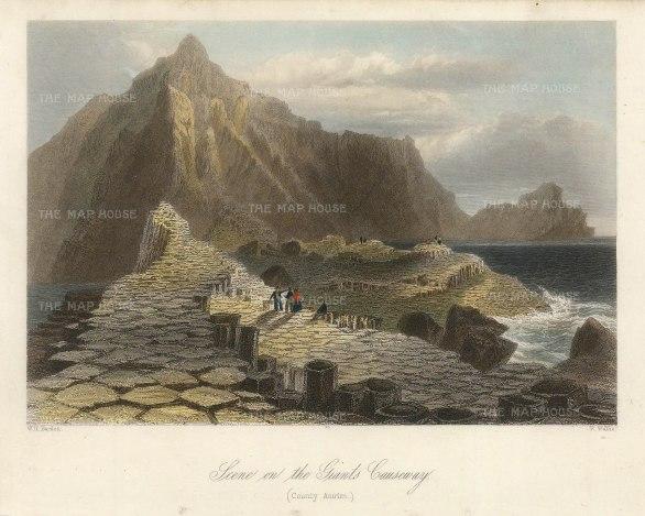"Bartlett: Giant's Causeway. 1841. A hand-coloured original antique steel engraving. 8"" x 6"". [IREp681]"