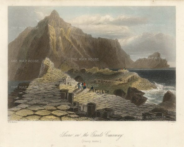 "Bartlett: Giant's Causeway. 1841. A hand-coloured original antique steel engraving. 8"" x 6"". [IREp681]"
