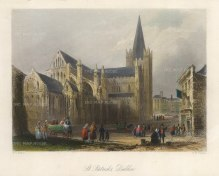 "Bartlett: Dublin. 1841. A hand coloured original antique steel engraving. 8"" x 6"". [IREp682]"