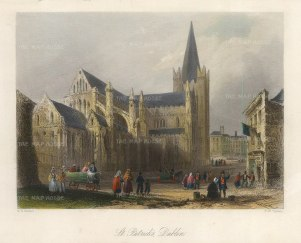 "Bartlett: Dublin. 1841. A hand-coloured original antique steel engraving. 8"" x 6"". [IREp682]"