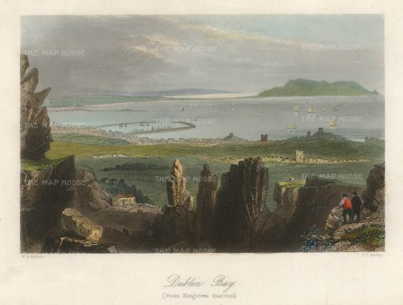 "Bartlett: Dublin. 1841. A hand coloured original antique steel engraving. 8"" x 6"". [IREp683]"