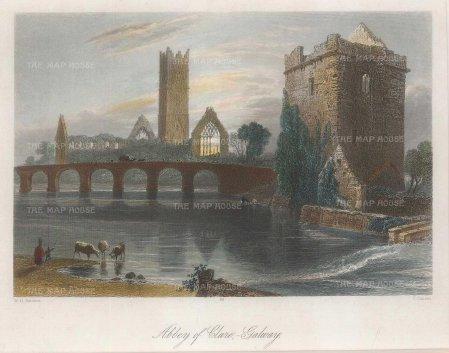 "Bartlett: Clare. 1841. A hand-coloured original antique steel engraving. 8"" x 6"". [IREp684]"