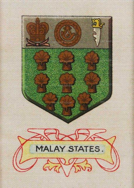"""Cigarette Card: Malay States. c1900. An orginal colour silk card. 2"""" x 3"""". [MISCp4746]"""