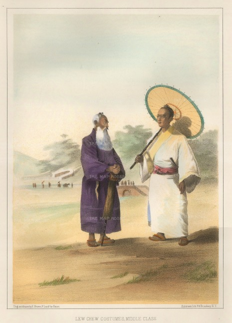Perry: Middle class Japanese Dress. 1856. A hand-coloured original antique lithograph. 7 x 10 inches [SEASp1175]