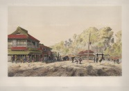Yeddo (Tokyo): Tea House on main road in Akabane. Drawn from life during the diplomatic mission of Prince zu Eulanberg to Japan, Siam & China 1859-62.