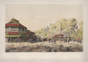 Akbane, Yeddo (Tokyo): Tea House on main road in Akabane. Drawn from life during the diplomatic mission of Prince zu Eulanberg to Japan, Siam & China 1859-62.