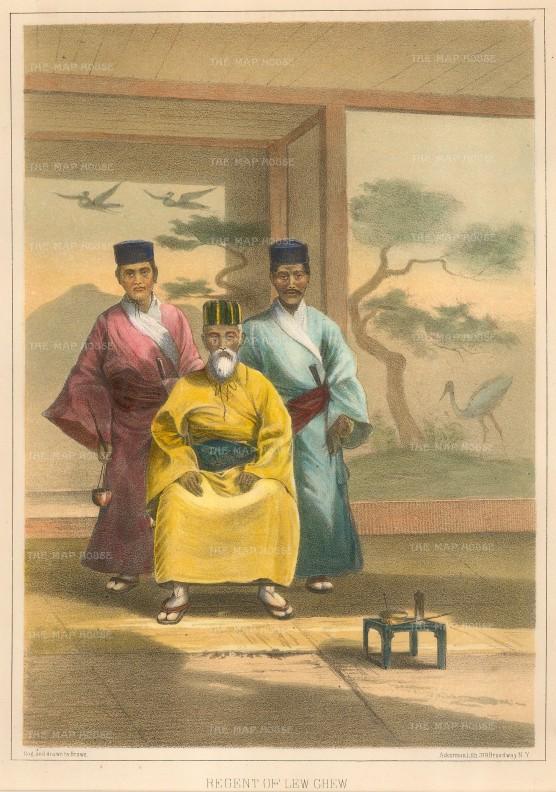 Perry: Regent of Okinawa. 1856. A hand-coloured original antique lithograph. 9 x 6 inches. [SEASp1222]