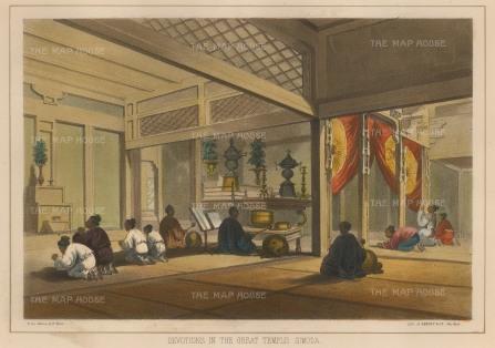 Perry: Shimoda. 1856. A hand-coloured original antique lithograph. 10 x 7 inches. [SEASp1233]