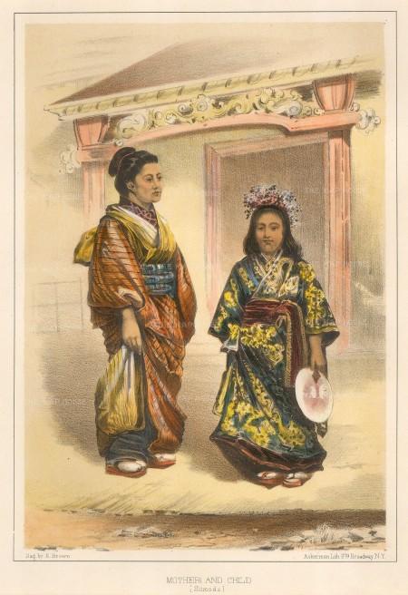 "Perry: Traditional Japanese dress. 1856. A hand coloured original antique lithograph. 7"" x 10"". [SEASp1239]"