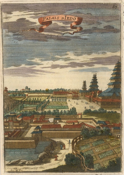 "Mallet: Tokyo. 1683. A hand coloured original antique copper engraving. 4"" x 6"". [SEASp1243]"