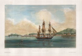 Penang Island:View of Penang Port. After Barthelemy Lauvergne, artist on the voyage of La Bonite 1836-7.