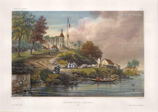 Vaillant: Malacca. Circa 1850. A hand-coloured original antique lithograph. 15 x 10 inches [SEASp1352]