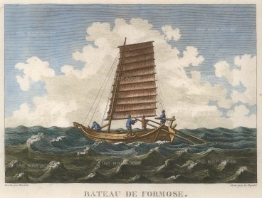 La Perouse: Taiwanese Sailing Ship. 1797. A hand-coloured original antique copper-engraving. 11 x 9 inches. [SEASp1472]