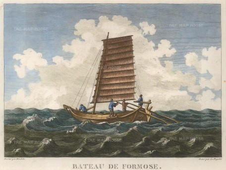 """La Perouse: Taiwanese boat. 1797. A hand coloured original antique copper engraving. 11"""" x 9"""". [SEASp1472]"""