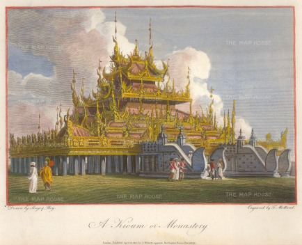 Lt. Col. Symes: Buddhist Temple 1800. A hand-coloured original antique copper-engraving. 8 x 6 inches. [SEASp1540]