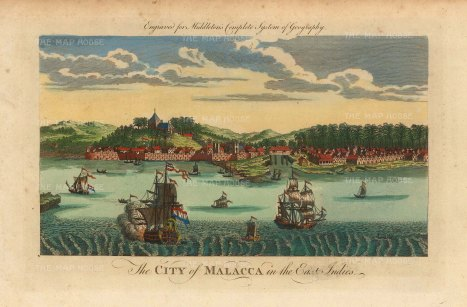 Malacca: View of the Dutch Fort and approaching galleons based on an earlier view.