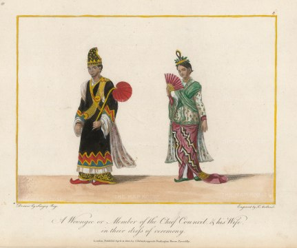Member of the chief council and his wife in ceremonial dress.